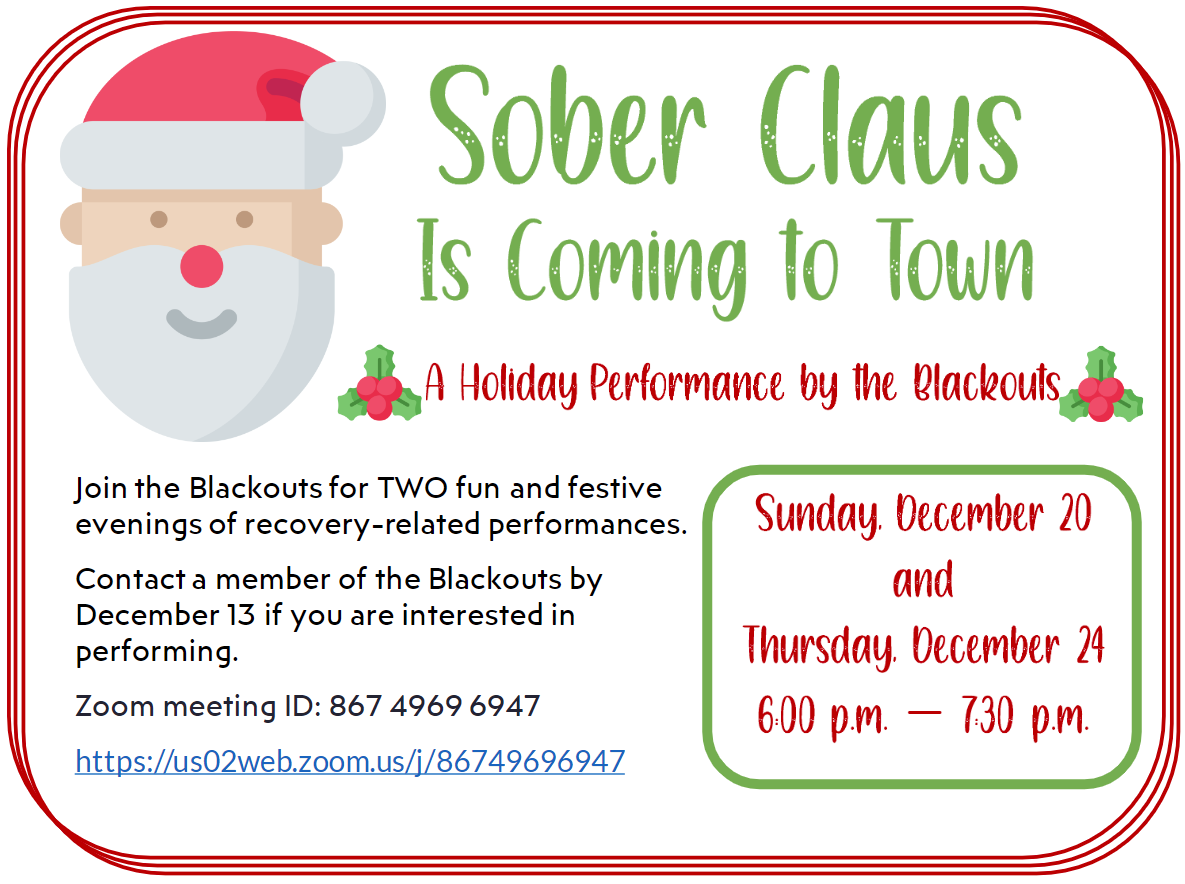Sober Claus with the Blackouts Flyer