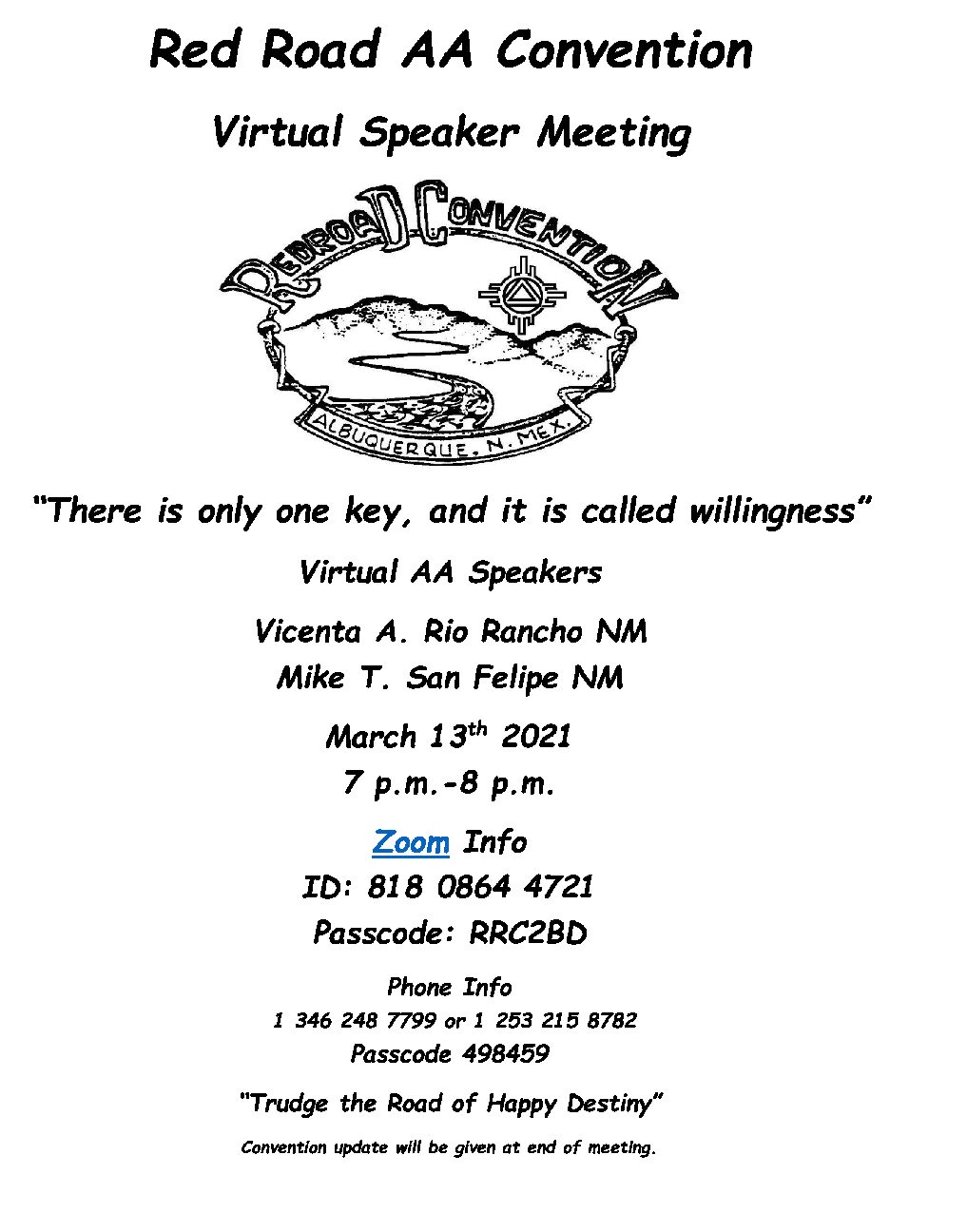 Red Road Convention Virtual Speaker Meeting