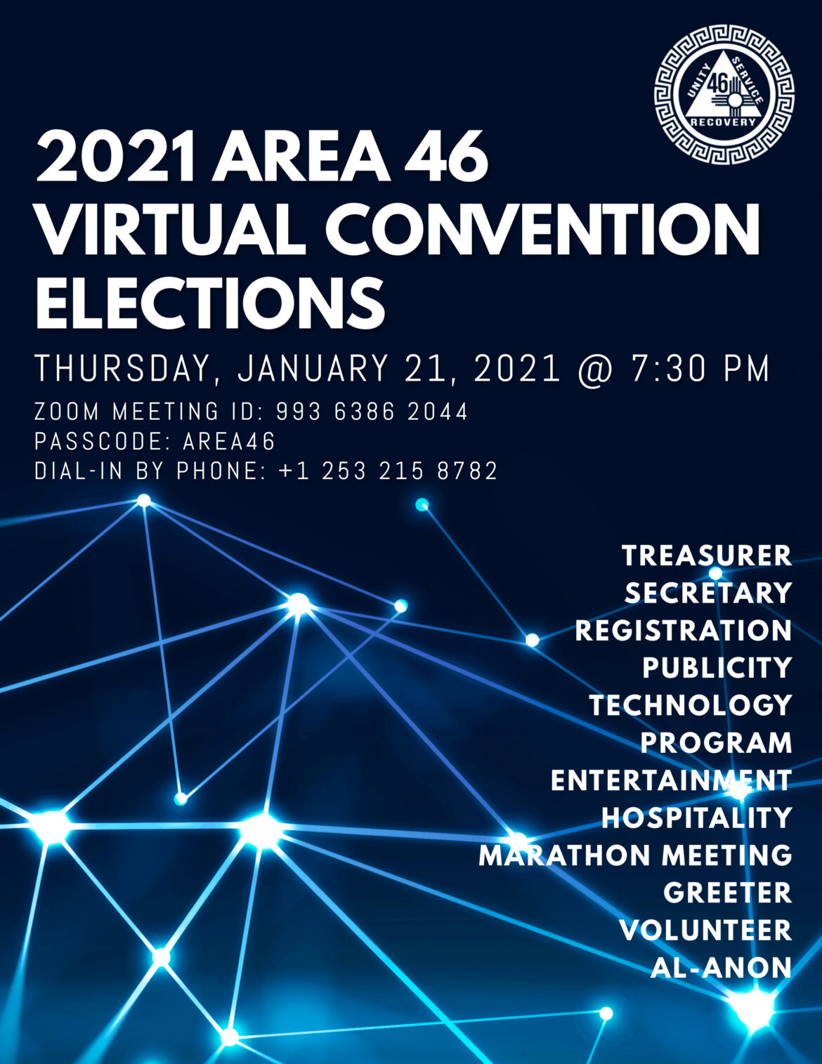 Area 46 Elections for 2021 Convention Planning Offices
