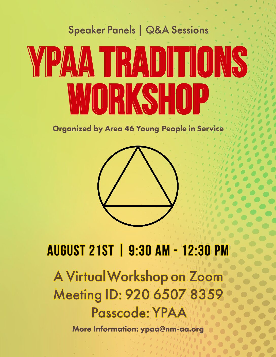 YPAA 2021 traditions workshop flyer