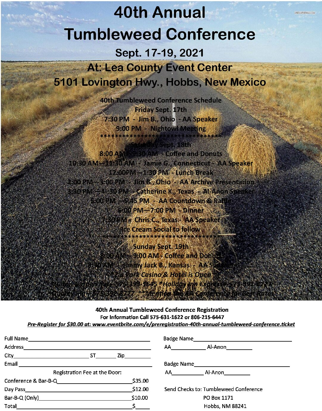 40th Annual Tumbleweed Conference